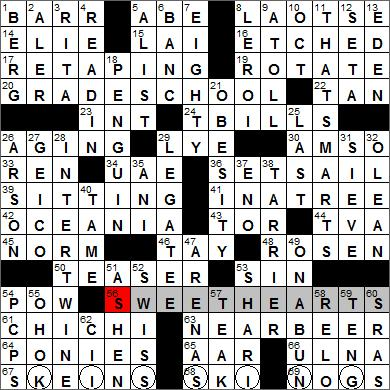 Los Angeles Times crossword puzzle solutions, 10 27 11