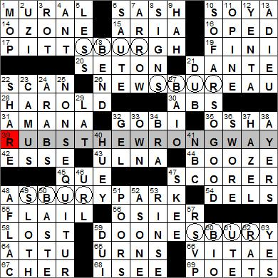Los Angeles Times crossword puzzle solutions, 11 17 11
