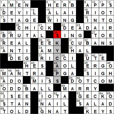 Los Angeles Times Crossword Puzzle Solutions 12 27 11
