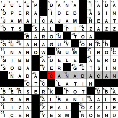 Los Angeles Times crossword puzzle solutions, 12 6 11