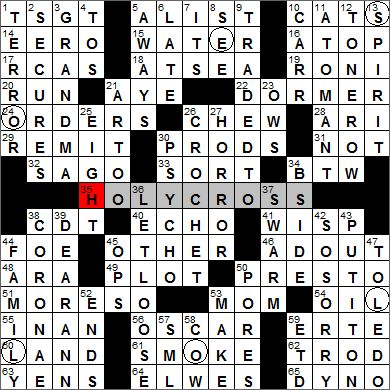 Los Angeles Times crossword puzzle solution, 2 16 12