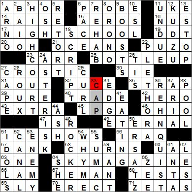 Los Angeles Times crossword solution, 4 12 12