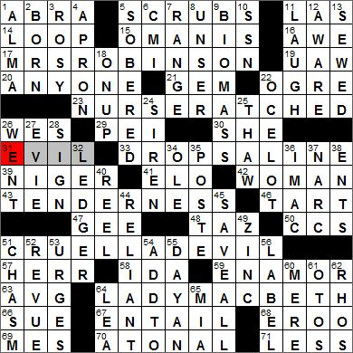 Los Angeles Times crossword solution, 9 25 12