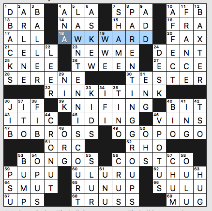 Thursday, May 23, 2019   Diary of a Crossword Fiend