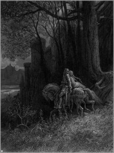 """Geraint and Enid Ride Away"", Gustave Doré's illustration of Lord Alfred Tennyson's ""Idylls of the King"", 1868."