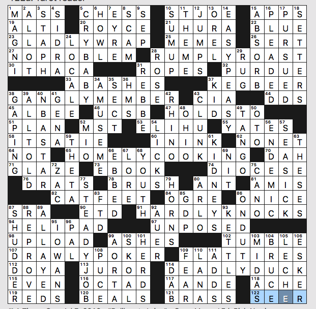 graphic relating to La Times Crossword Printable identified as Sunday, July 7, 2019 Diary of a Crossword Fiend