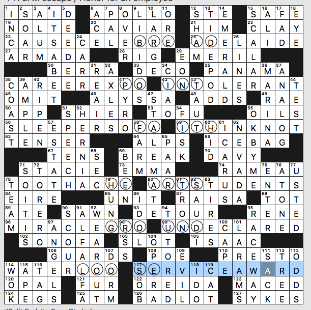 Sunday July 28 2019 Diary Of A Crossword Fiend
