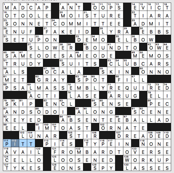 image regarding La Times Crossword Printable known as Sunday, August 11, 2019 Diary of a Crossword Fiend