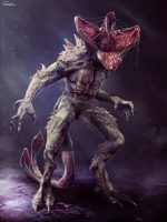 The demogorgon is a humanoid with a carnivorous flower head/face