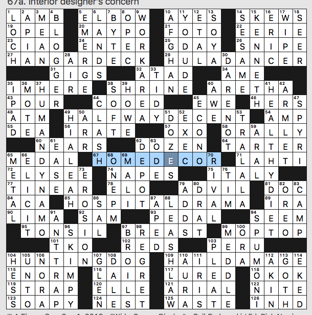 Sunday September 1 2019 Diary Of A Crossword Fiend