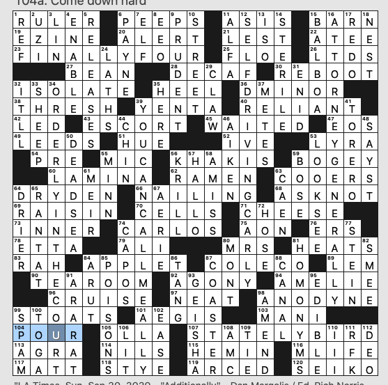 Sunday September 20 2020 Diary Of A Crossword Fiend