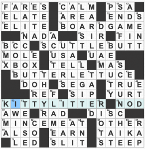 Image of grid solution for July 16, 2021 USA Today crossword