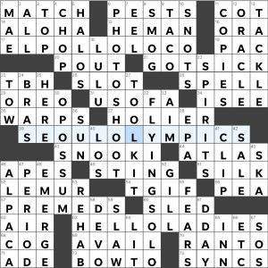 Completed USA Today crossword for Tuesday September 28, 2021